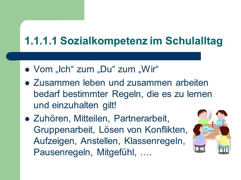 1.1.1.1 Sozialkompetenz im Schulalltag