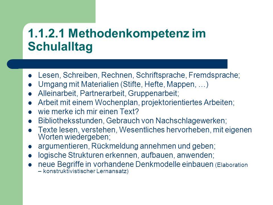 1.1.2.1 Methodenkompetenz im Schulalltag