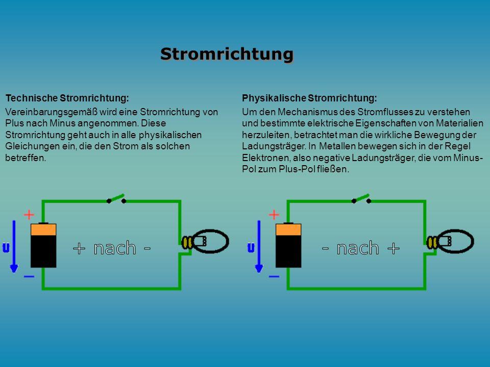 + nach - - nach + Stromrichtung Technische Stromrichtung: