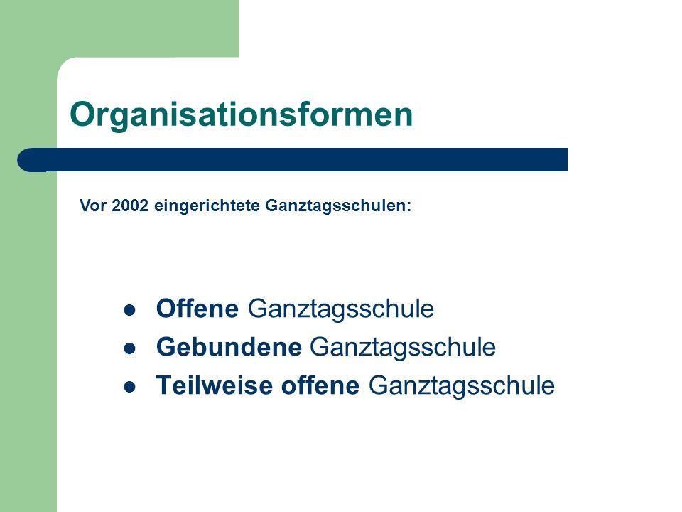 Organisationsformen Offene Ganztagsschule Gebundene Ganztagsschule