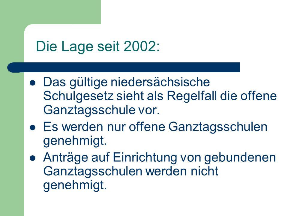 Die Lage seit 2002: Das gültige niedersächsische Schulgesetz sieht als Regelfall die offene Ganztagsschule vor.