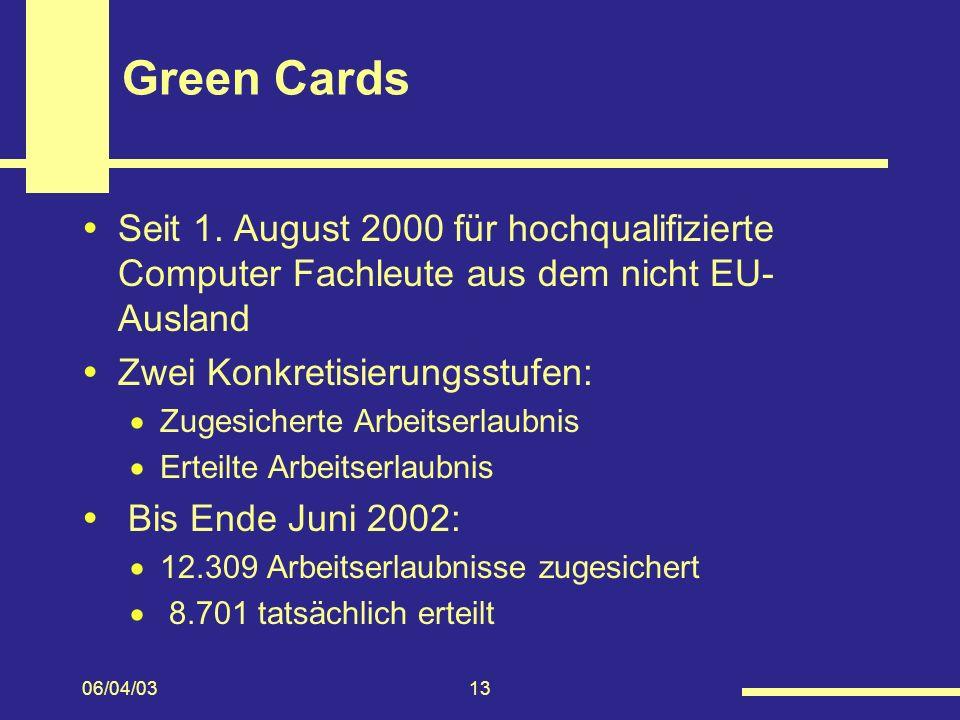 Green Cards Seit 1. August 2000 für hochqualifizierte Computer Fachleute aus dem nicht EU-Ausland. Zwei Konkretisierungsstufen: