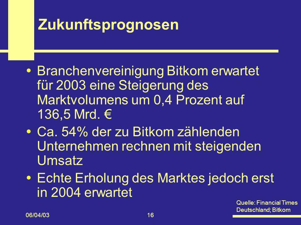 Zukunftsprognosen Branchenvereinigung Bitkom erwartet für 2003 eine Steigerung des Marktvolumens um 0,4 Prozent auf 136,5 Mrd. €