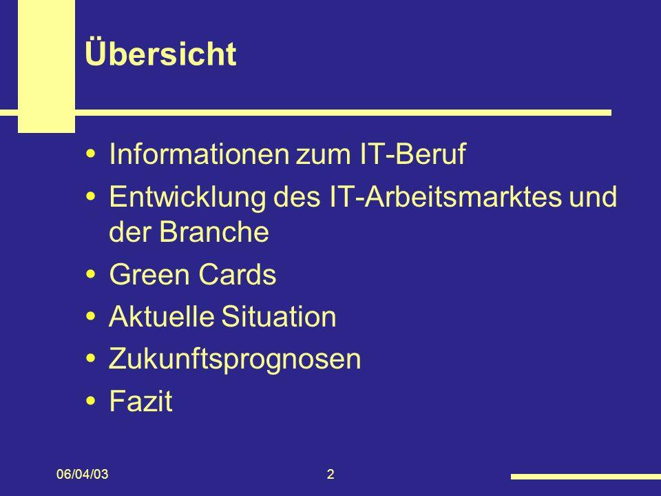 Übersicht Informationen zum IT-Beruf