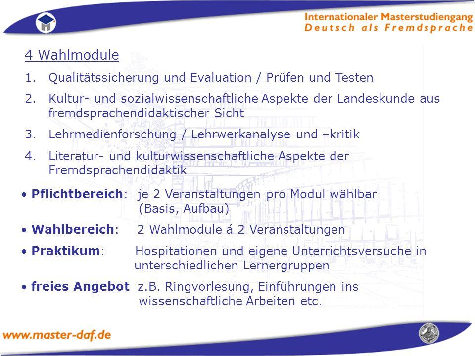 4 Wahlmodule Qualitätssicherung und Evaluation / Prüfen und Testen