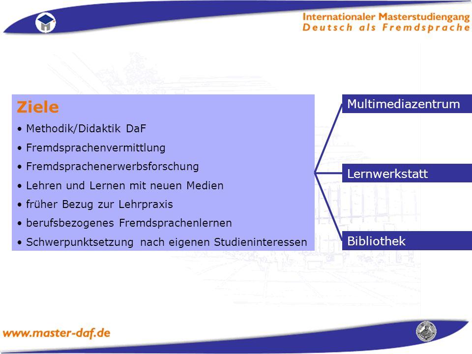 Ziele Multimediazentrum Lernwerkstatt Bibliothek Methodik/Didaktik DaF