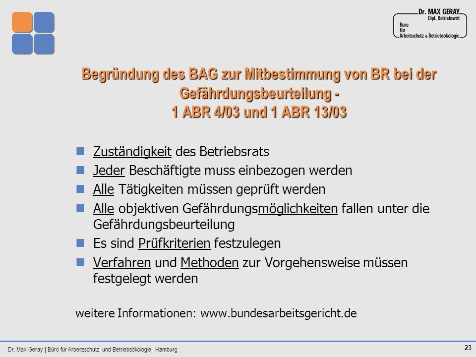 Begründung des BAG zur Mitbestimmung von BR bei der Gefährdungsbeurteilung - 1 ABR 4/03 und 1 ABR 13/03