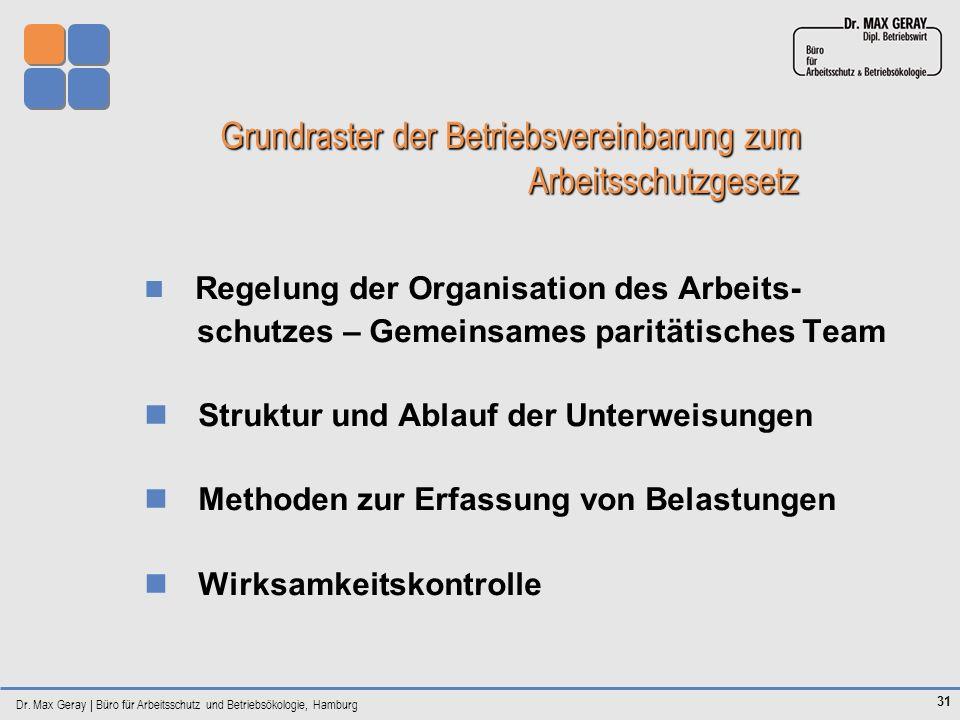 Grundraster der Betriebsvereinbarung zum Arbeitsschutzgesetz
