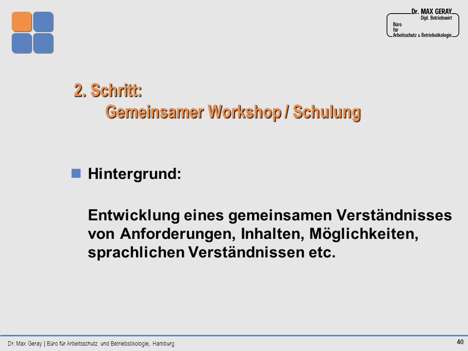 2. Schritt: Gemeinsamer Workshop / Schulung