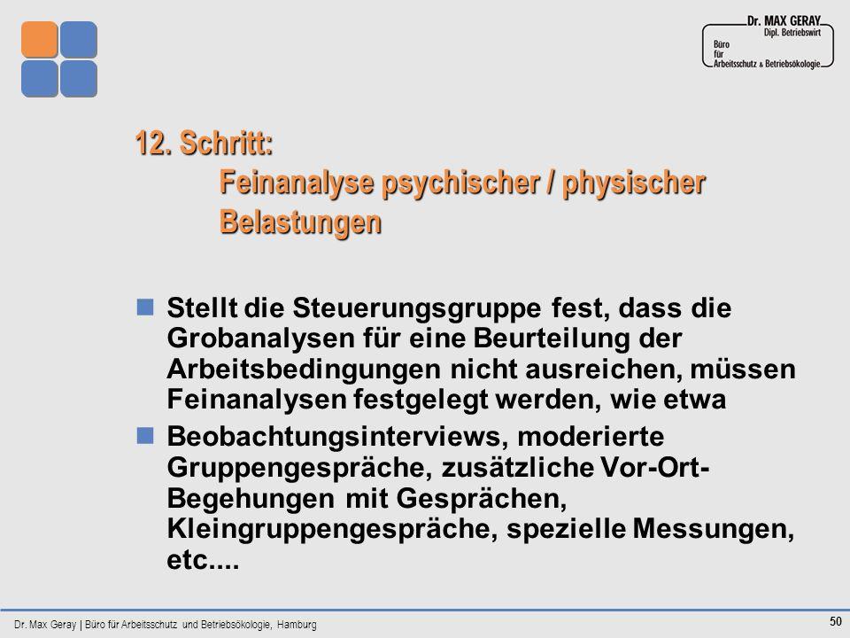 12. Schritt: Feinanalyse psychischer / physischer Belastungen