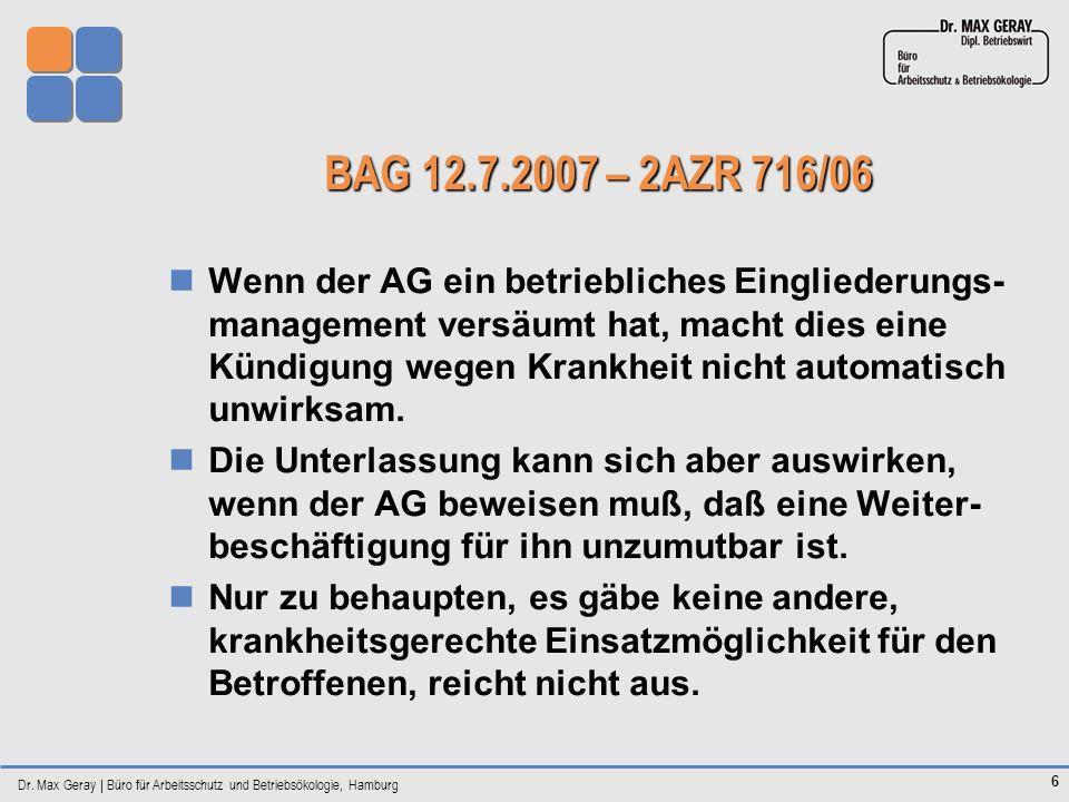 BAG 12.7.2007 – 2AZR 716/06