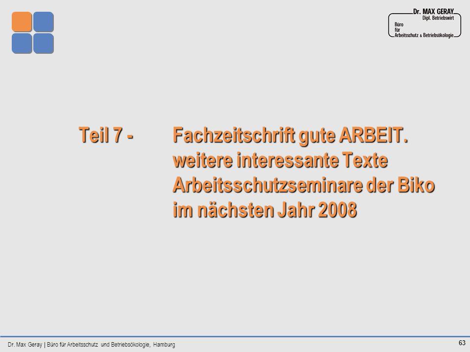 Teil 7 -. Fachzeitschrift gute ARBEIT. weitere interessante Texte