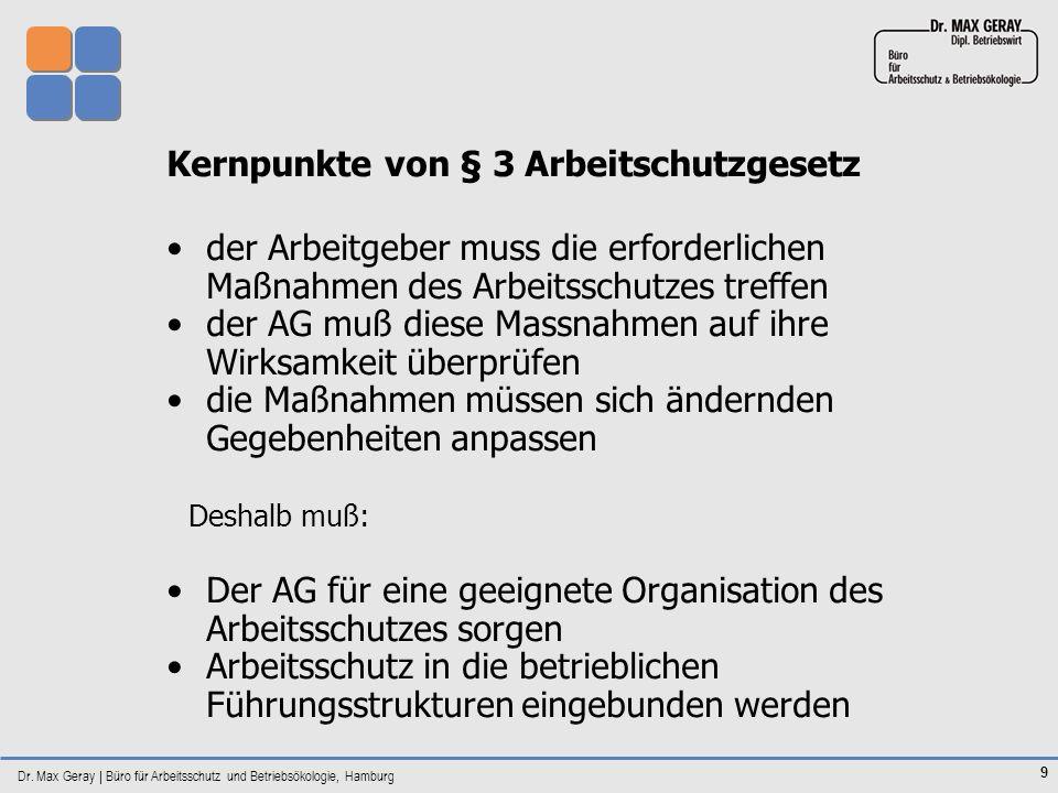 Kernpunkte von § 3 Arbeitschutzgesetz