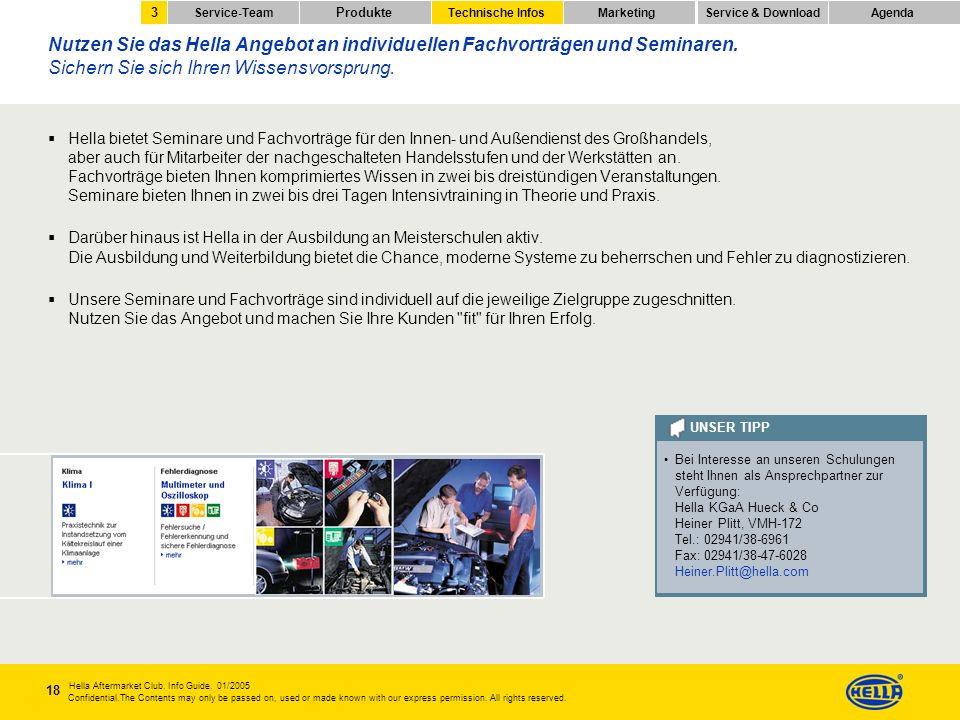3 Service-Team. Produkte. Technische Infos. Marketing. Service & Download. Agenda.