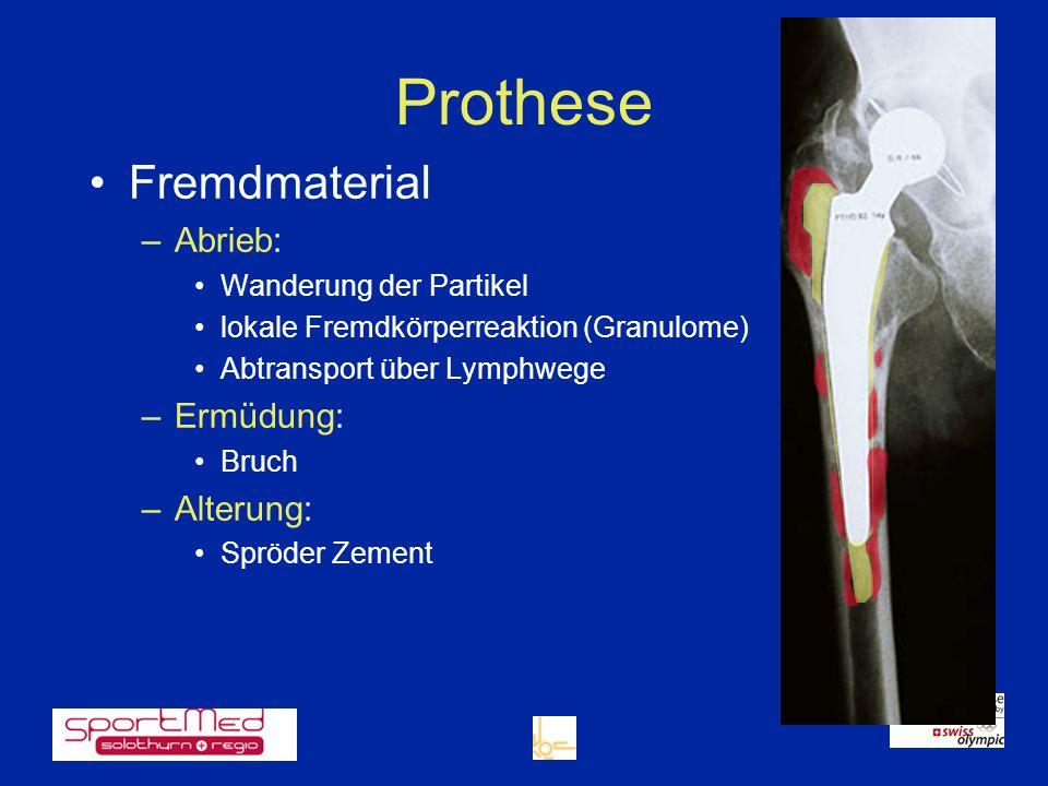 Prothese Fremdmaterial Abrieb: Ermüdung: Alterung: