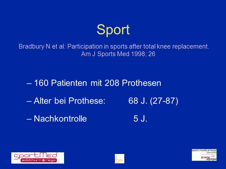 Sport 160 Patienten mit 208 Prothesen