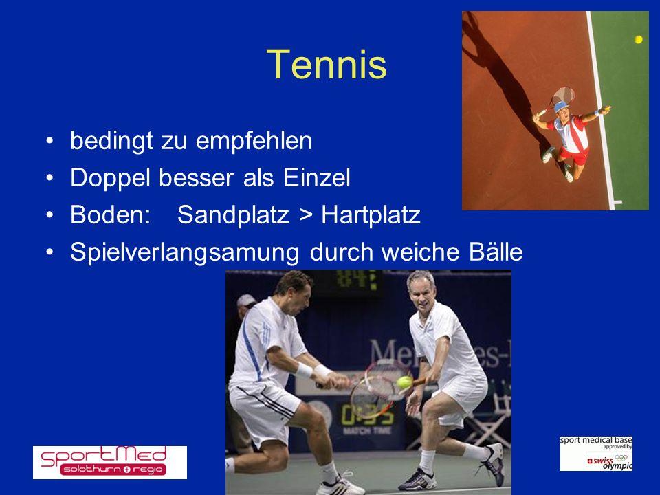 Tennis bedingt zu empfehlen Doppel besser als Einzel
