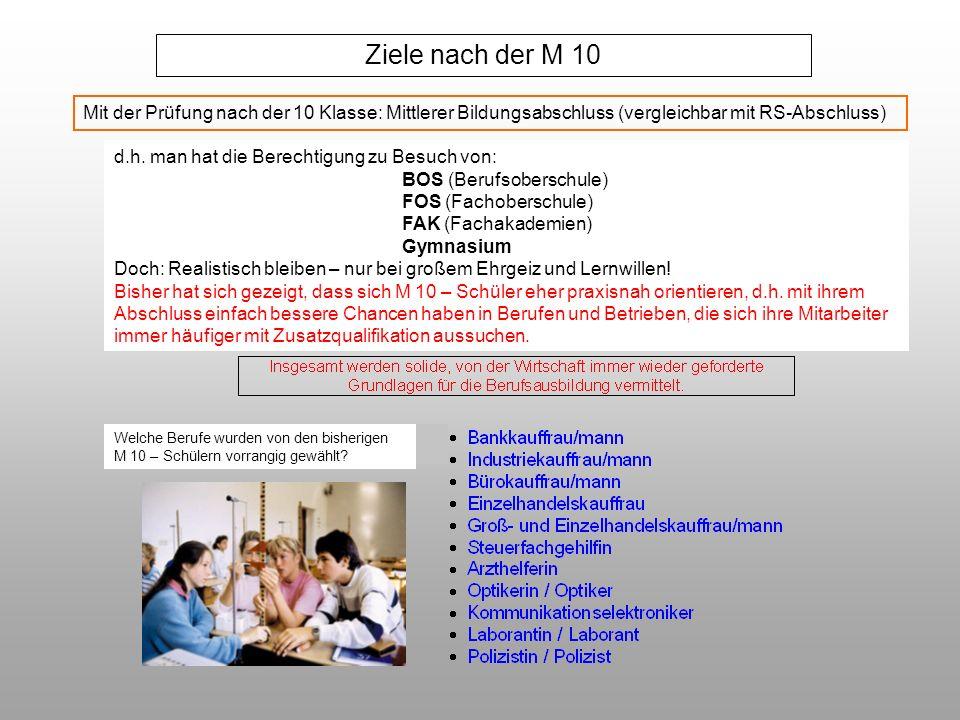 Ziele nach der M 10 Mit der Prüfung nach der 10 Klasse: Mittlerer Bildungsabschluss (vergleichbar mit RS-Abschluss)