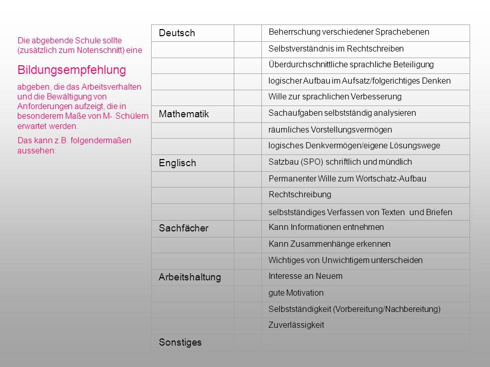 Bildungsempfehlung Deutsch Mathematik Englisch Sachfächer