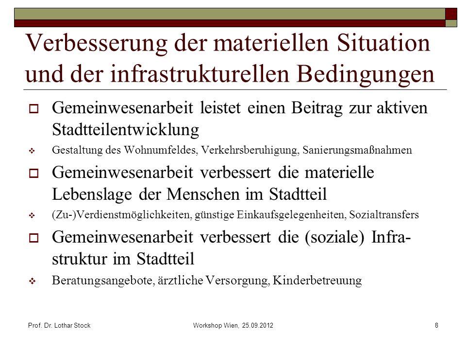 Verbesserung der materiellen Situation und der infrastrukturellen Bedingungen