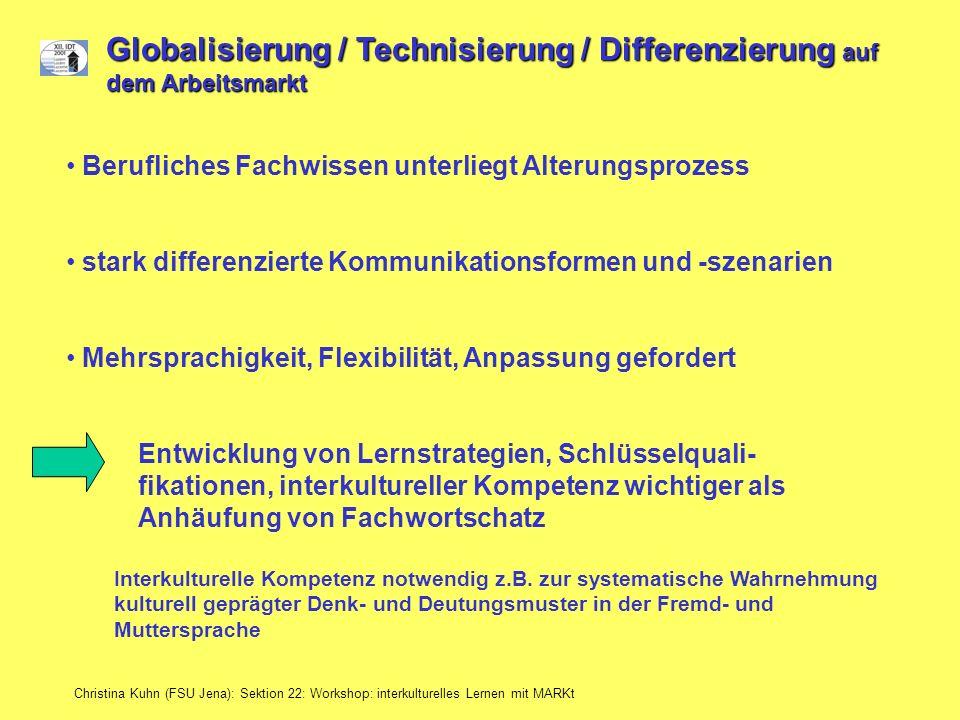Globalisierung / Technisierung / Differenzierung auf dem Arbeitsmarkt