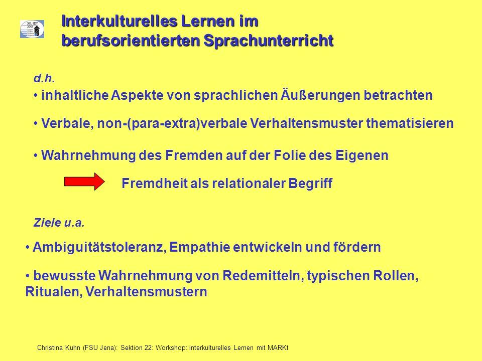 Interkulturelles Lernen im berufsorientierten Sprachunterricht