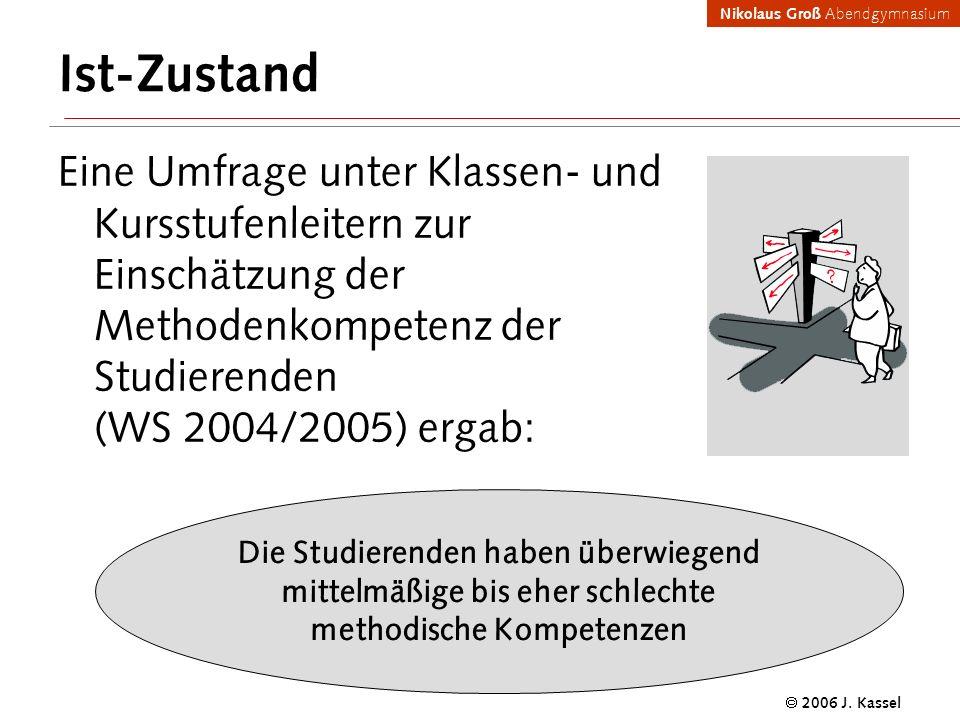 Ist-Zustand Eine Umfrage unter Klassen- und Kursstufenleitern zur Einschätzung der Methodenkompetenz der Studierenden (WS 2004/2005) ergab: