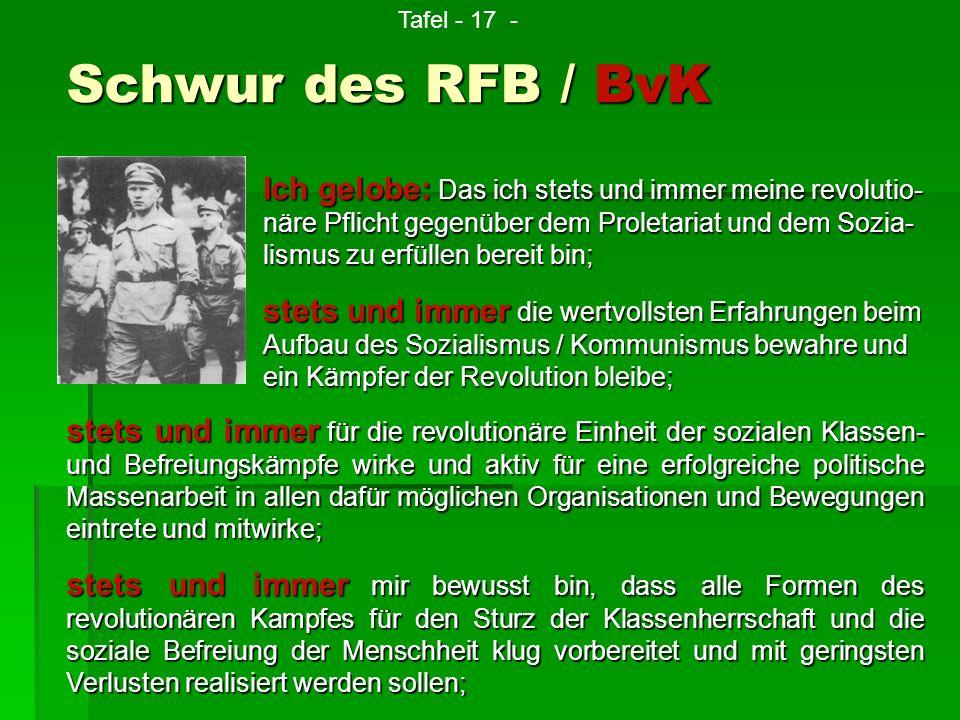 Tafel - 17 - Schwur des RFB / BvK.