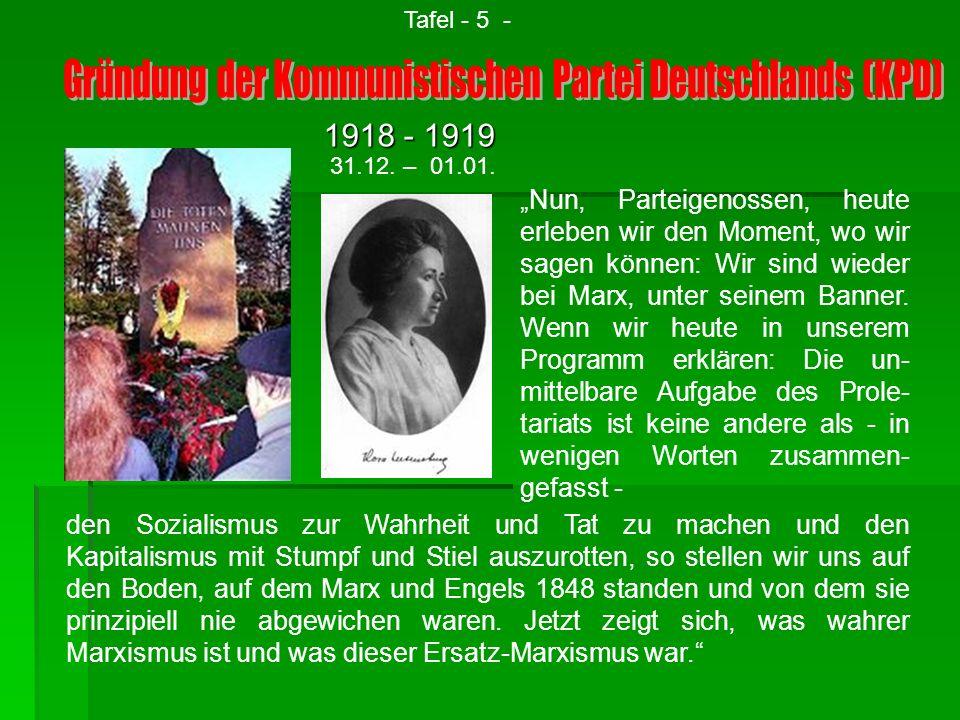 Gründung der Kommunistischen Partei Deutschlands (KPD)