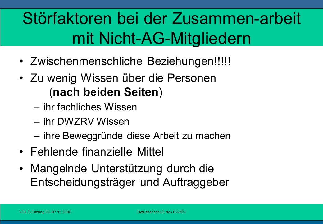 Störfaktoren bei der Zusammen-arbeit mit Nicht-AG-Mitgliedern