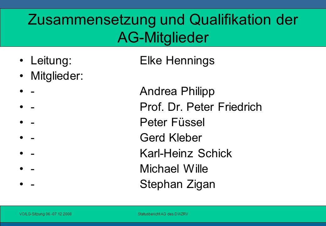Zusammensetzung und Qualifikation der AG-Mitglieder