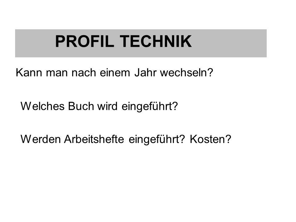 Profil Technik Welches Buch wird eingeführt