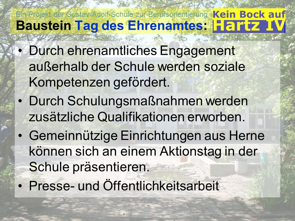 Baustein Tag des Ehrenamtes:
