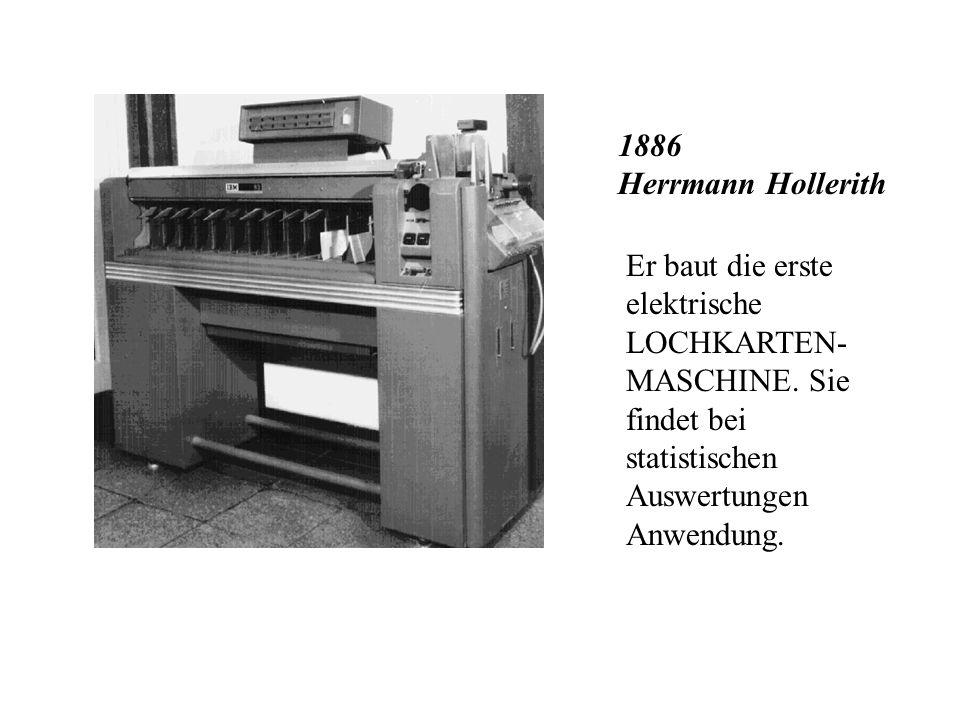 1886 Herrmann HollerithEr baut die erste elektrische LOCHKARTEN-MASCHINE.