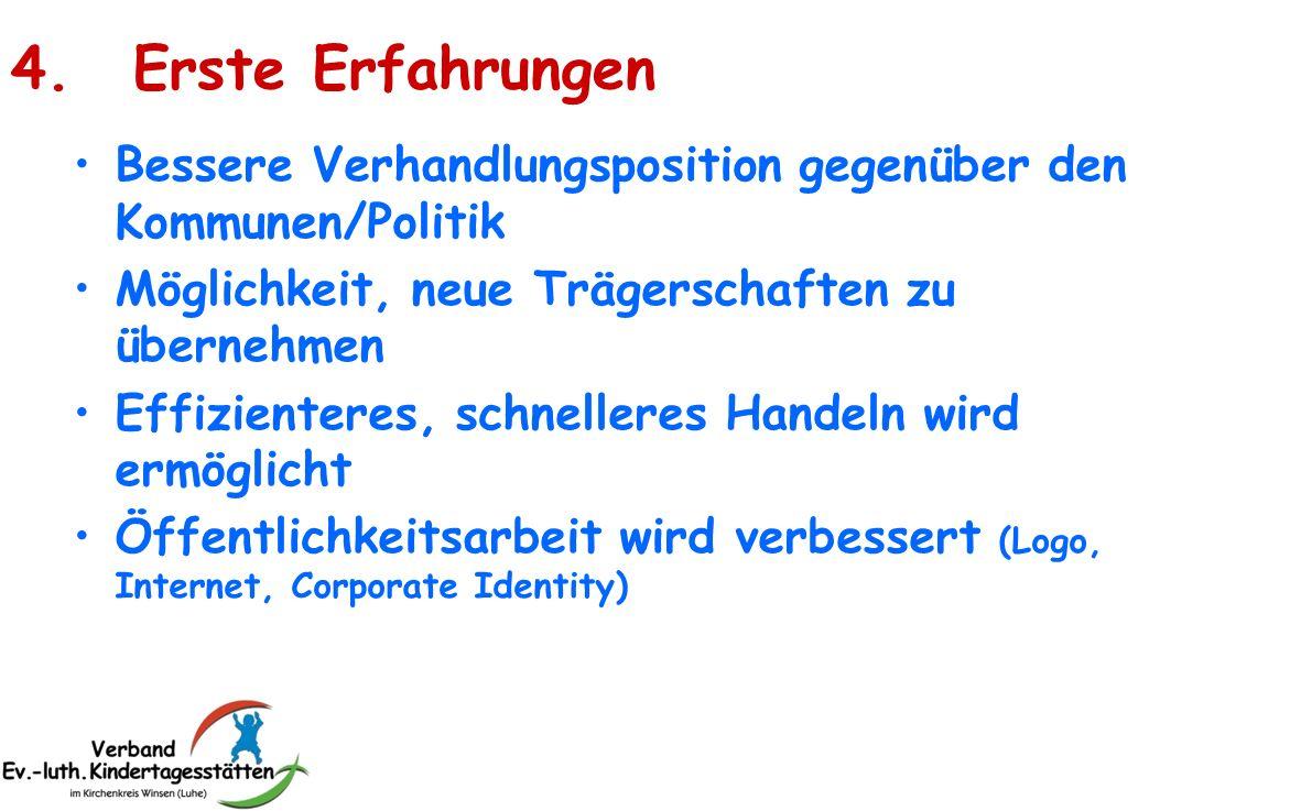4. Erste Erfahrungen Bessere Verhandlungsposition gegenüber den Kommunen/Politik. Möglichkeit, neue Trägerschaften zu übernehmen.