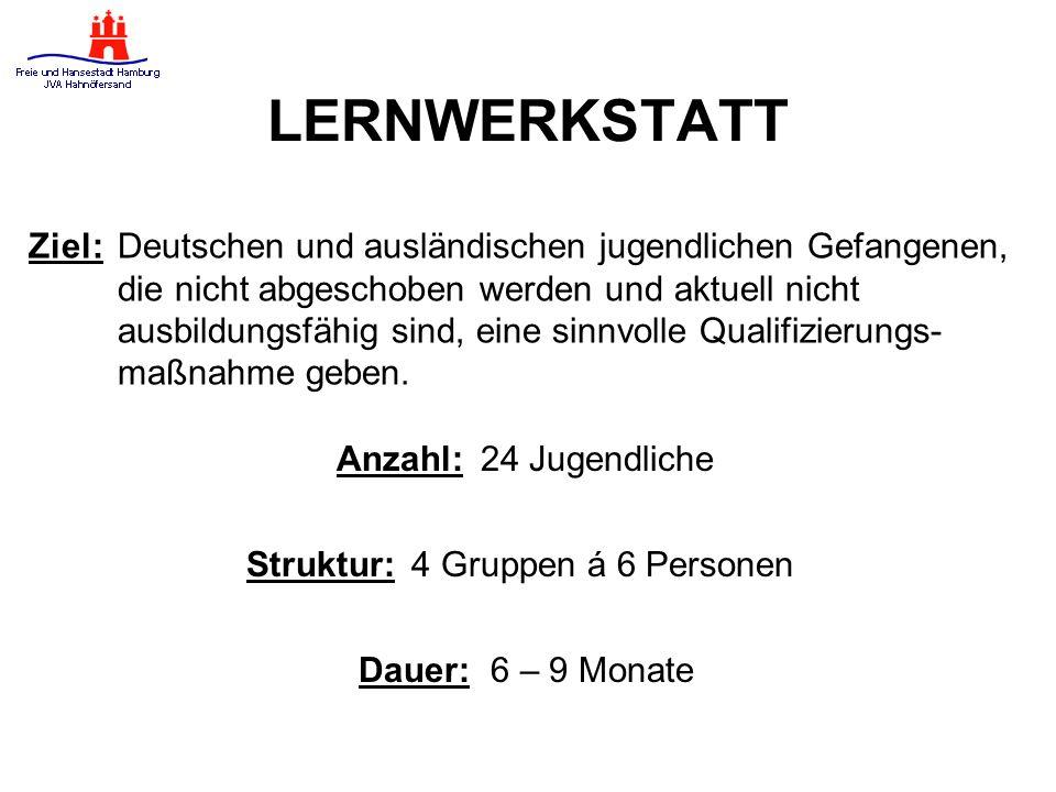 LERNWERKSTATT Ziel: Deutschen und ausländischen jugendlichen Gefangenen, die nicht abgeschoben werden und aktuell nicht.
