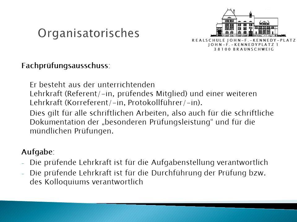 Organisatorisches Fachprüfungsausschuss: