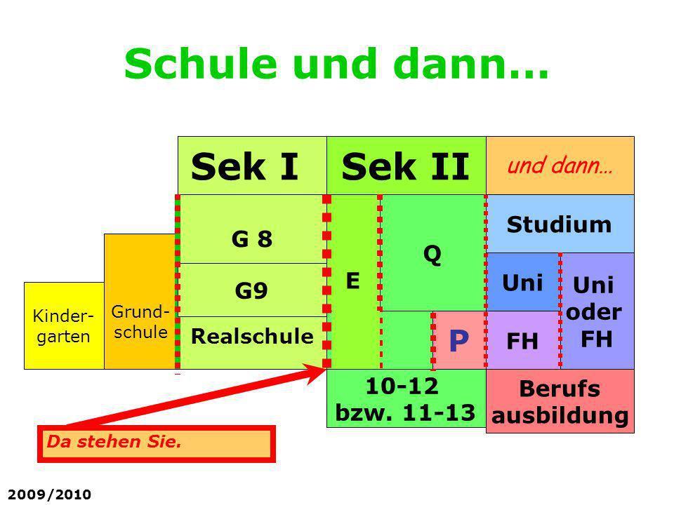 Schule und dann… Sek I Sek II P und dann… Studium G 8 Q E Uni G9 oder