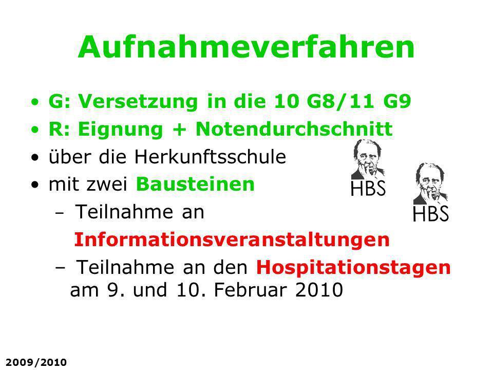 Aufnahmeverfahren G: Versetzung in die 10 G8/11 G9