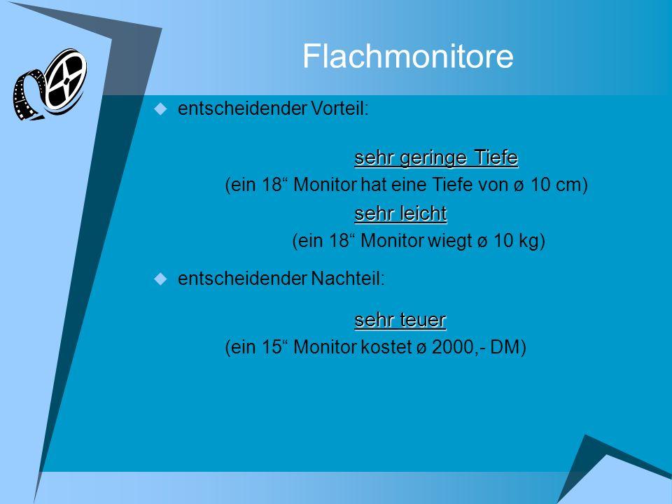 Flachmonitore entscheidender Vorteil: sehr geringe Tiefe