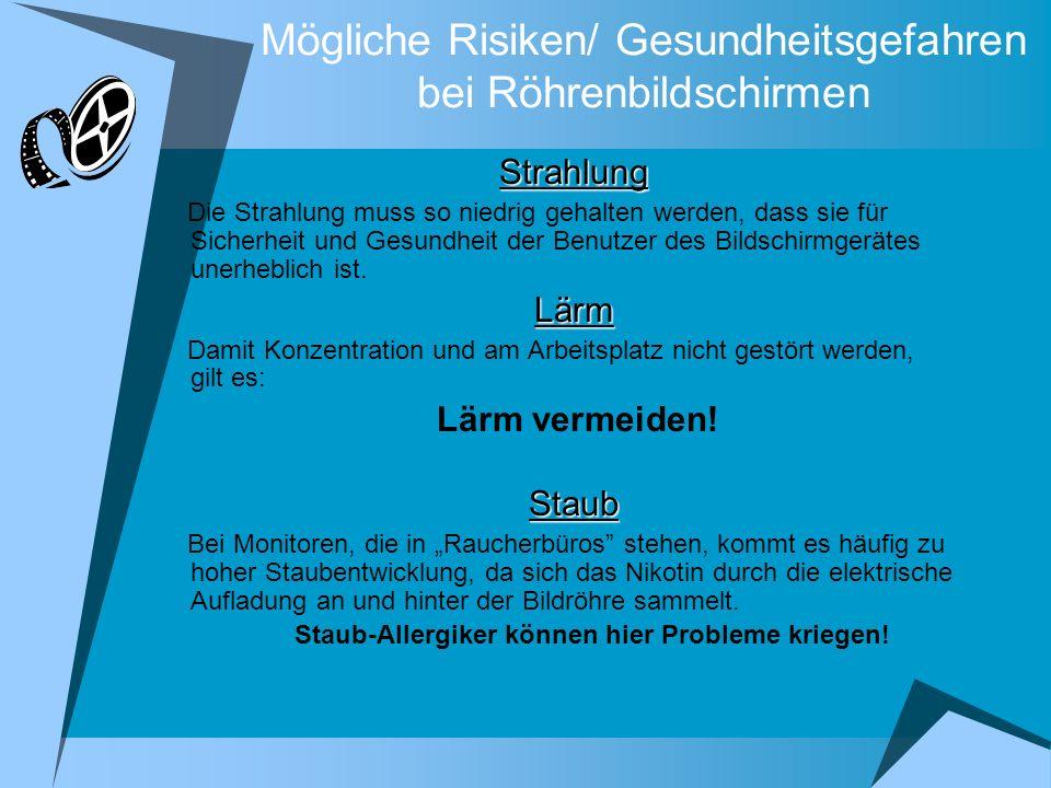 Mögliche Risiken/ Gesundheitsgefahren bei Röhrenbildschirmen