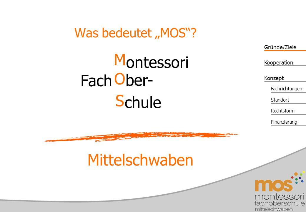 """Was bedeutet """"MOS M ontessori Fach O ber- S chule Mittelschwaben"""