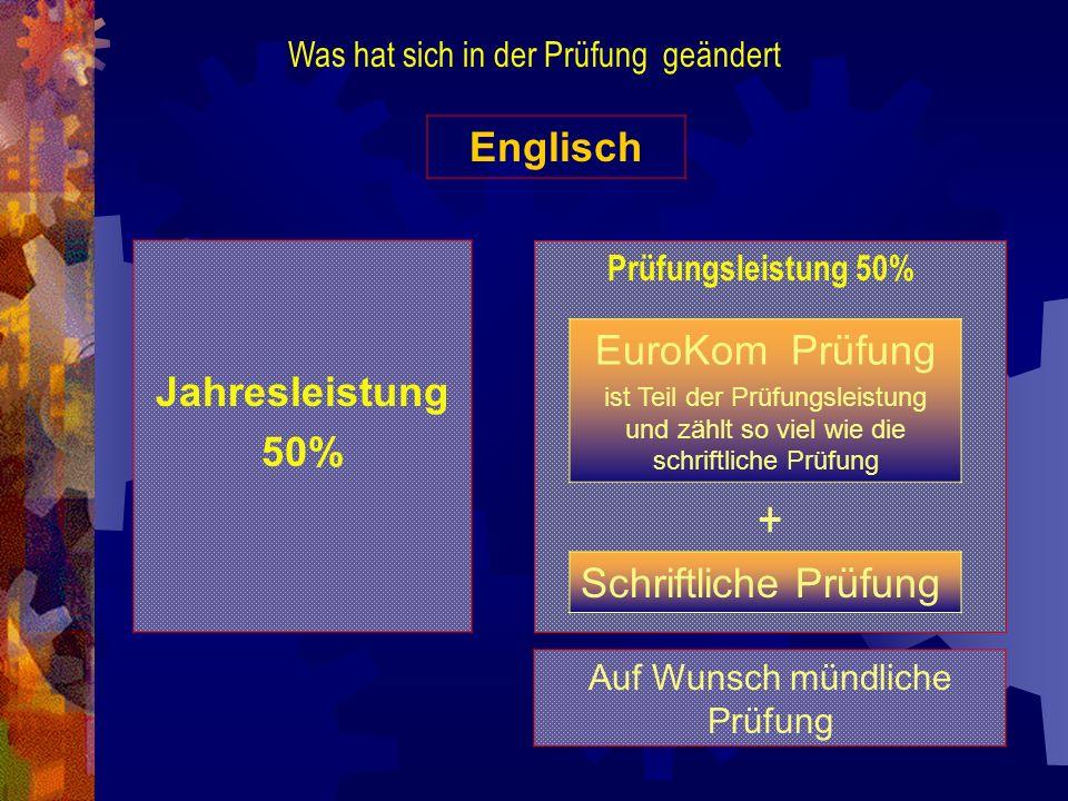 + Englisch EuroKom Prüfung Jahresleistung 50% Schriftliche Prüfung