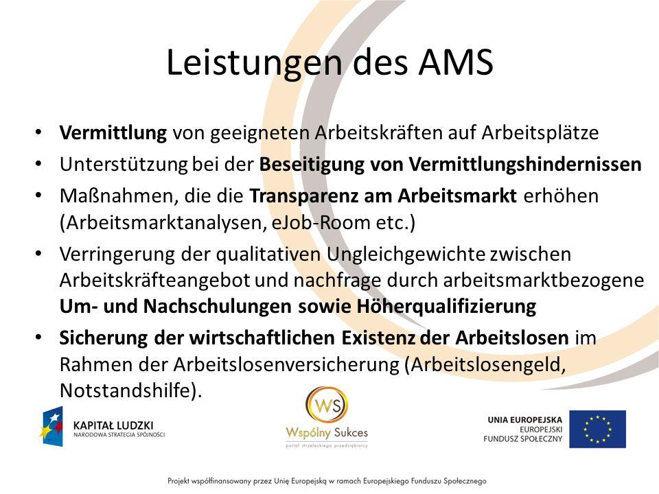 Leistungen des AMS Vermittlung von geeigneten Arbeitskräften auf Arbeitsplätze. Unterstützung bei der Beseitigung von Vermittlungshindernissen.