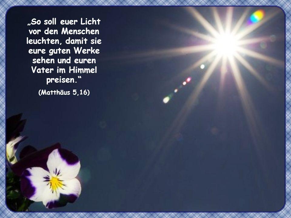 """""""So soll euer Licht vor den Menschen leuchten, damit sie eure guten Werke sehen und euren Vater im Himmel preisen."""