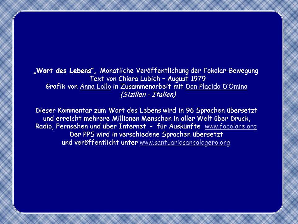 """""""Wort des Lebens , Monatliche Veröffentlichung der Fokolar-Bewegung"""