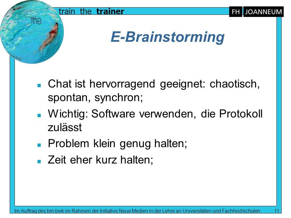 E-Brainstorming Chat ist hervorragend geeignet: chaotisch, spontan, synchron; Wichtig: Software verwenden, die Protokoll zulässt.