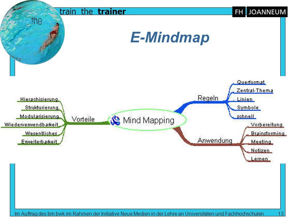 E-MindmapIm Auftrag des bm:bwk im Rahmen der Initiative Neue Medien in der Lehre an Universitäten und Fachhochschulen 13.