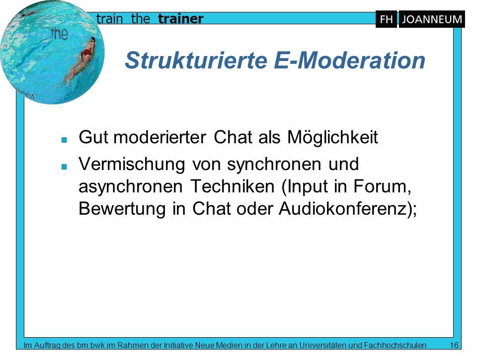 Strukturierte E-Moderation