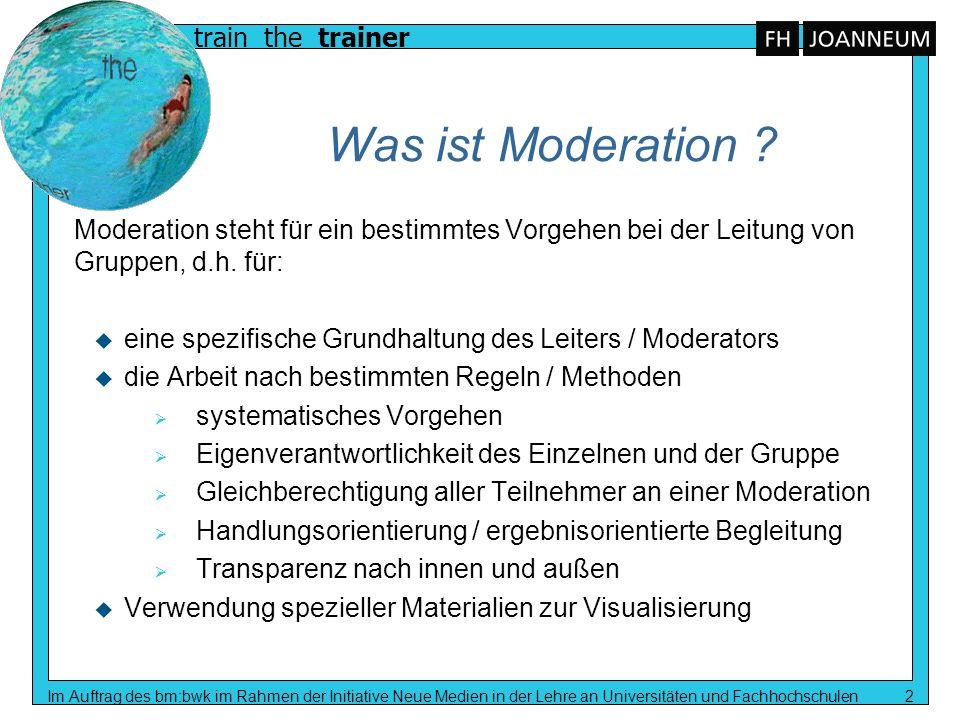 Was ist Moderation Moderation steht für ein bestimmtes Vorgehen bei der Leitung von Gruppen, d.h. für: